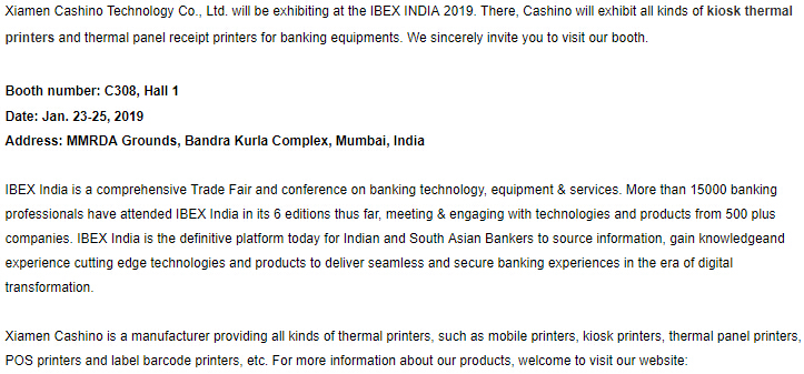Cashino Invites You to IBEX INDIA 2019