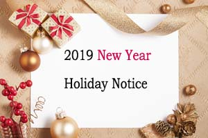 2019 New Year Day Holiday Notice